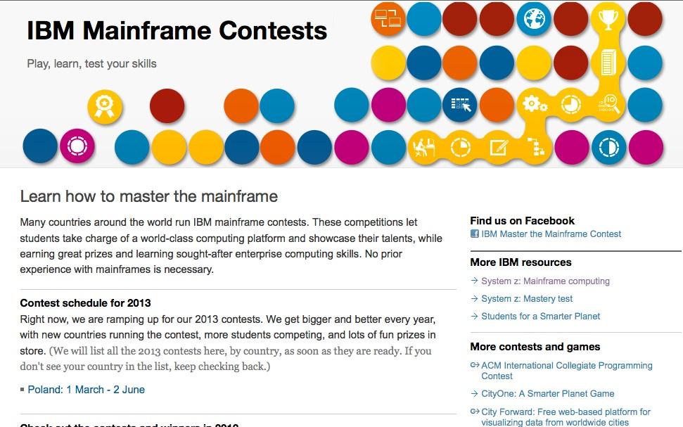 Screenshot of the IBM Master the Mainframe Landing Page