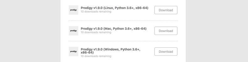 Screenshot of download links
