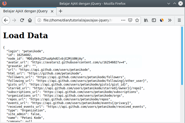 Results load data with JQuery
