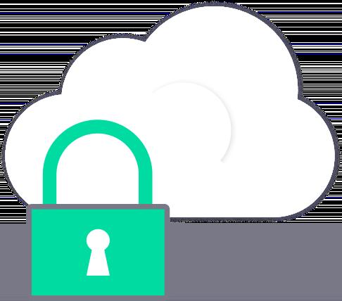 ilustração de um cadeado protegendo uma nuvem representando a segurança do armazenamento virtual na núvem
