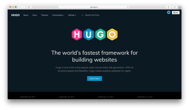 Hugo website is fine
