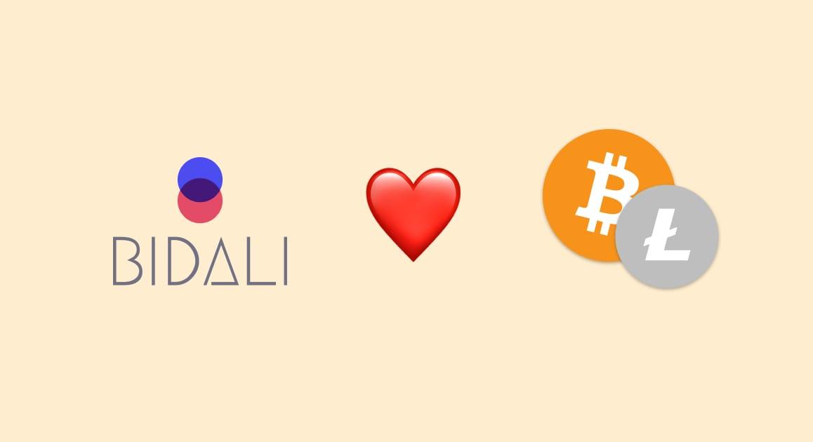 Bidali loves Bitcoin and Litecoin