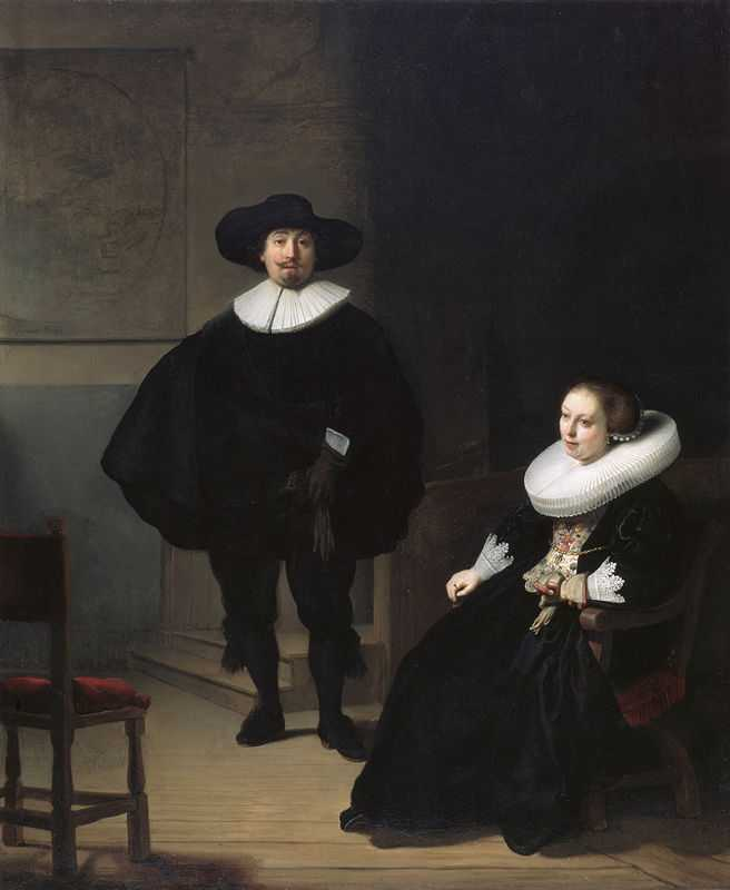 A lady and gentleman in black by Rembrandt, 1633, 1990: stolen from Isabella Stewart Gardner Museum