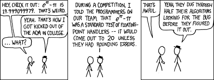 2.6: XKCD cartoon on floating-point arithmetic.