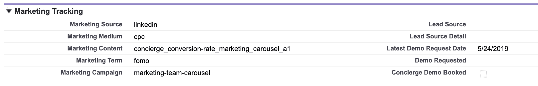 New marketing attribution fields in Salesforce.