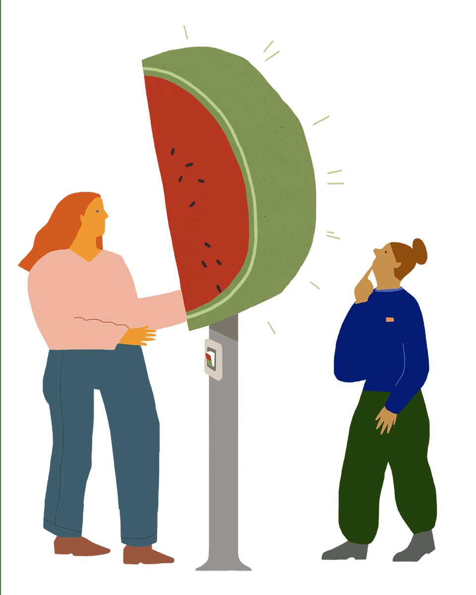 Die Melonenampel zeigt außen grün, ist innen aber rot.