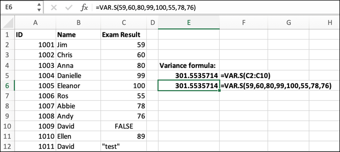 An Excel spreadsheet containing data for student ID, student name, and exam result. The VAR.S formula has been typed into the formula bar