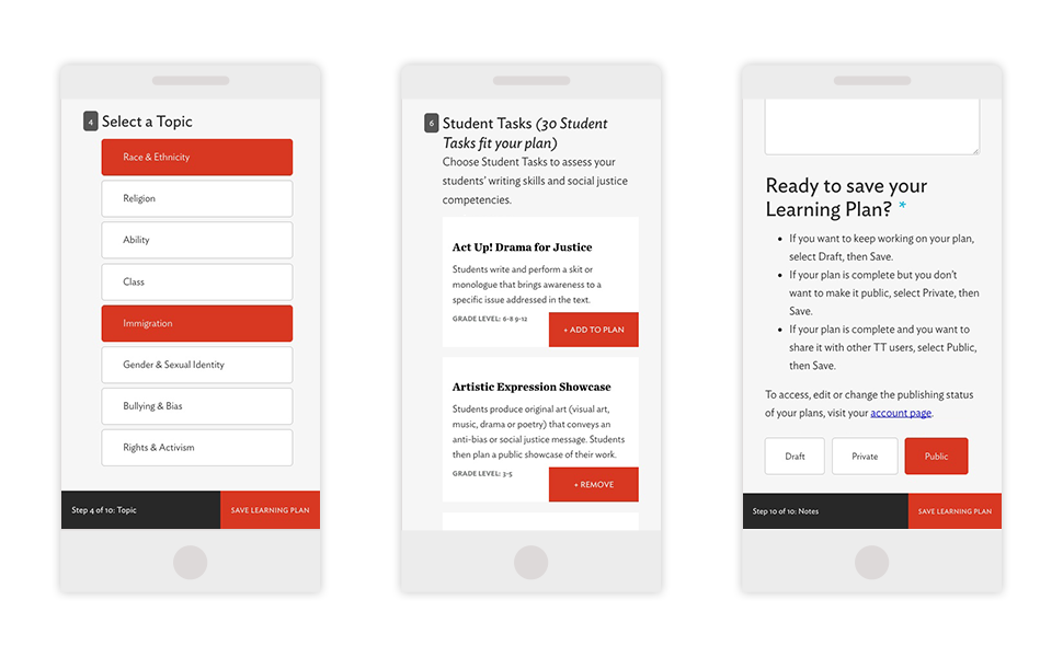 Image: mobile screens of the learning plan builder