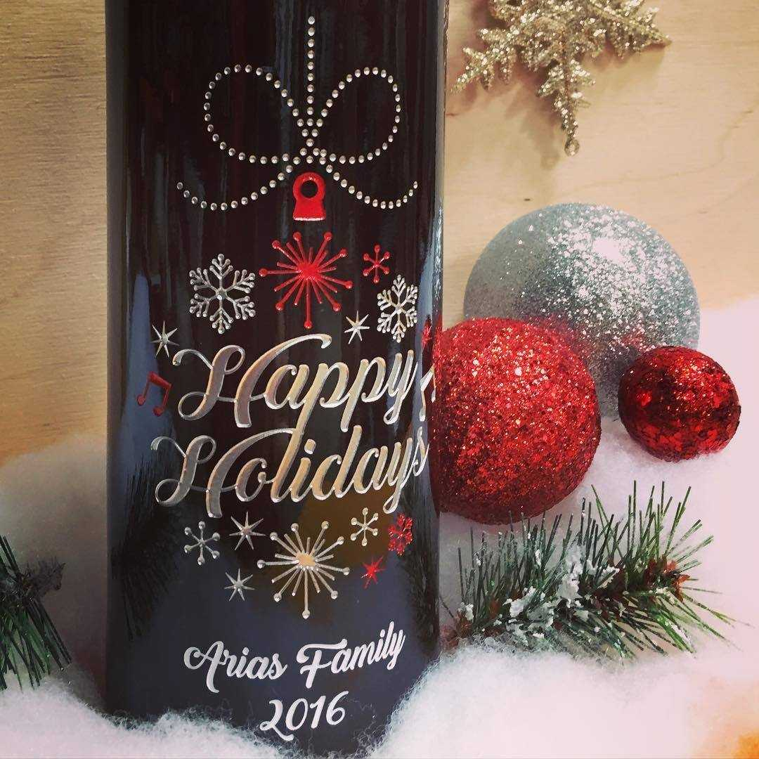 Happy Holidays Custom Etched Company Wine Gifts by Etching Expressions
