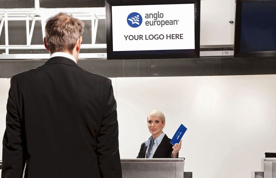 Man at check-in desk