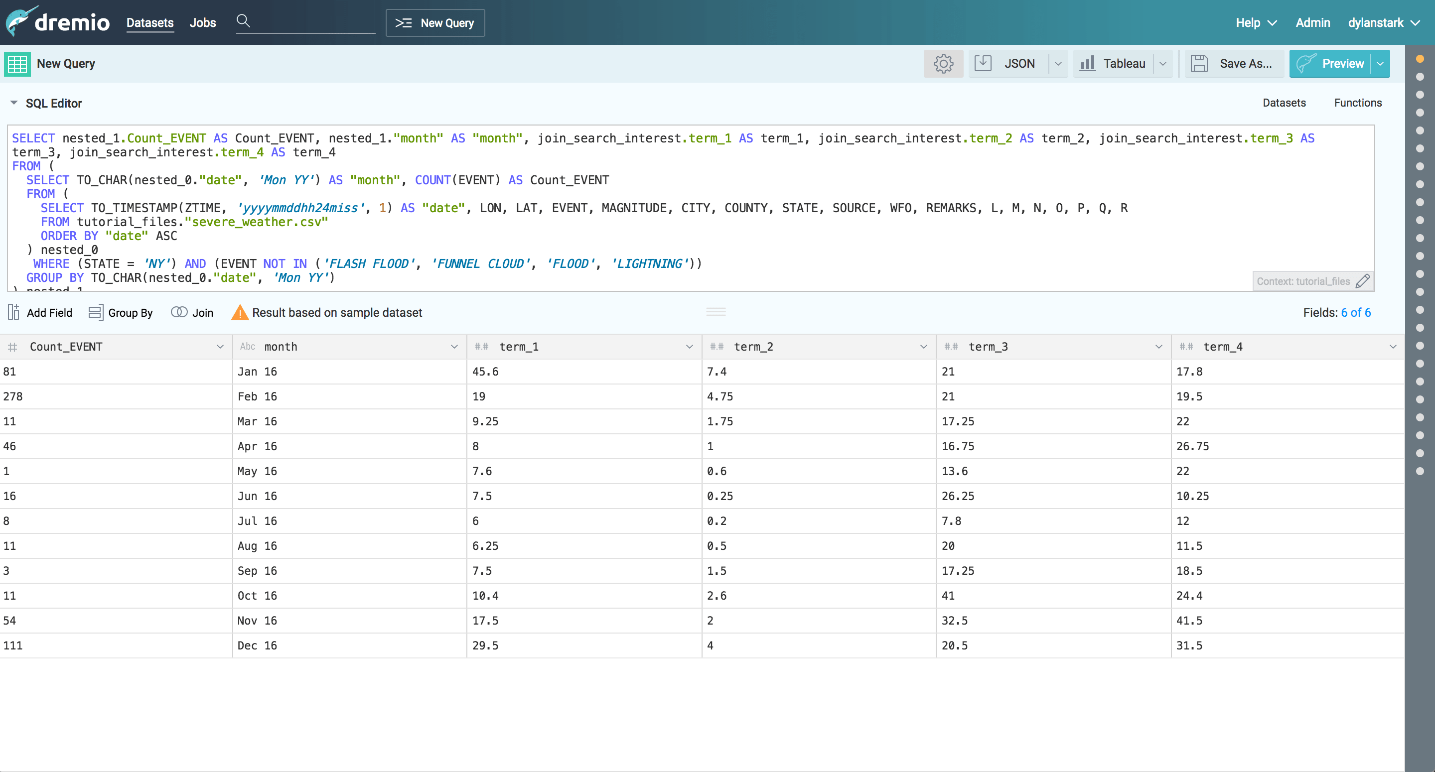 Dremio and D3 tutorial - joining data