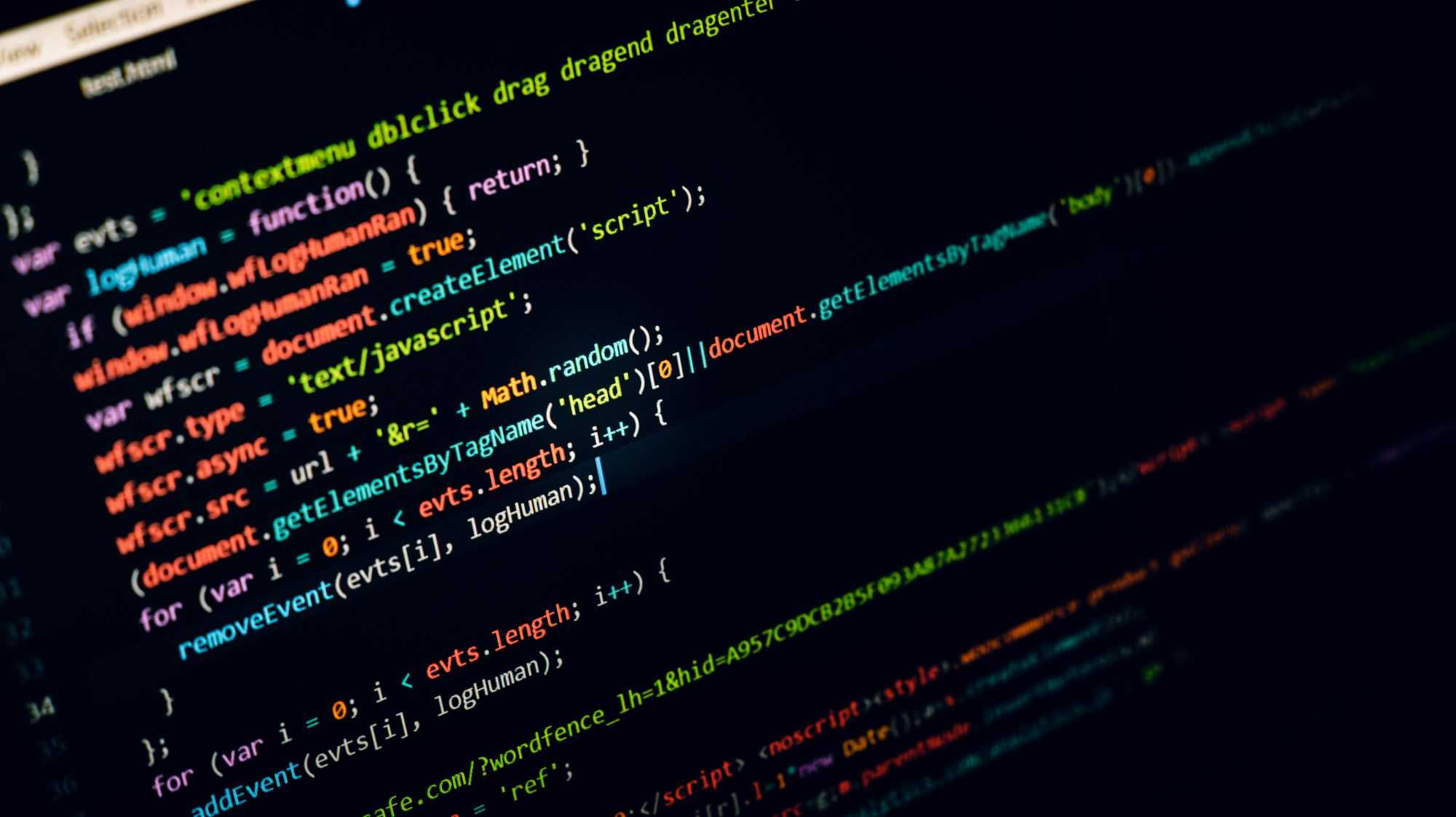 JavaScript on a computer screen