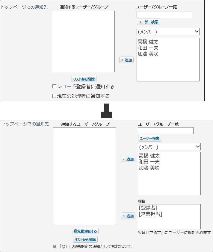 変更された更新通知の設定画面の比較画像