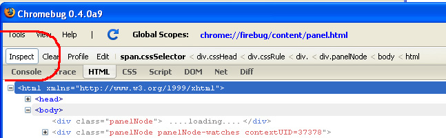 Using Chromebug To Navigate To Firebug Source