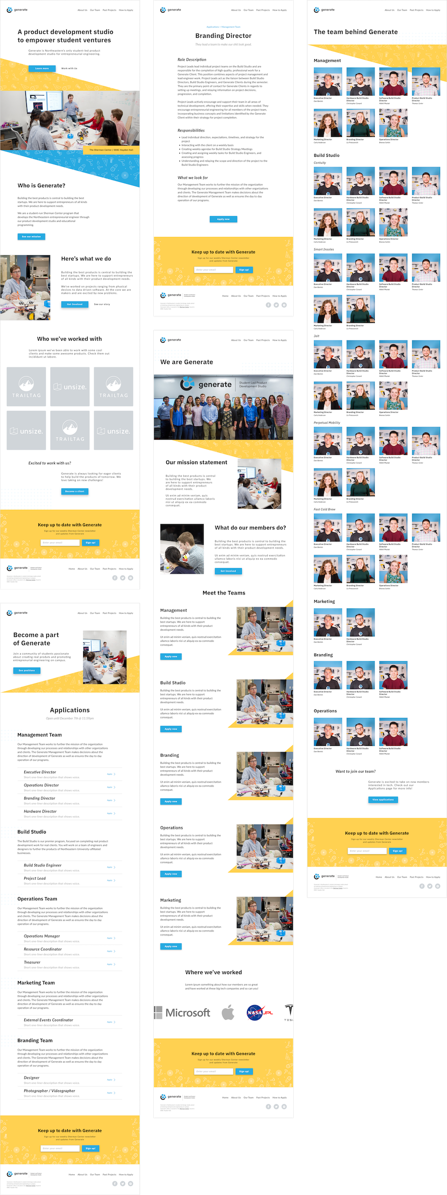 Finalized mockups of the Generate website, complete with color, complete UI, and more realistic copy.