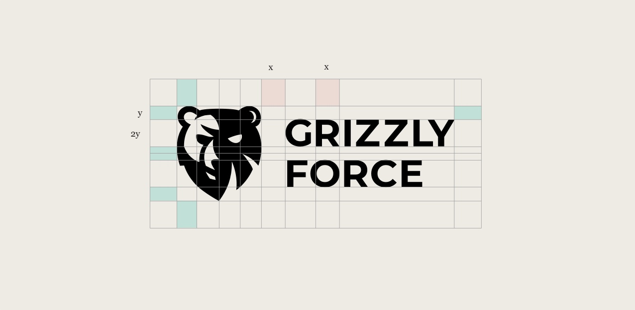 grizzly force logo in grid