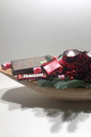 Super lange xxxl rode houten kerststuk
