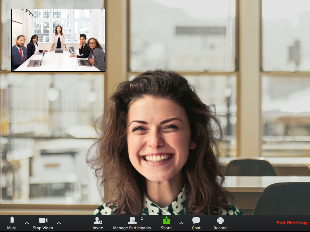 Woman using Zoom with Virtual Background