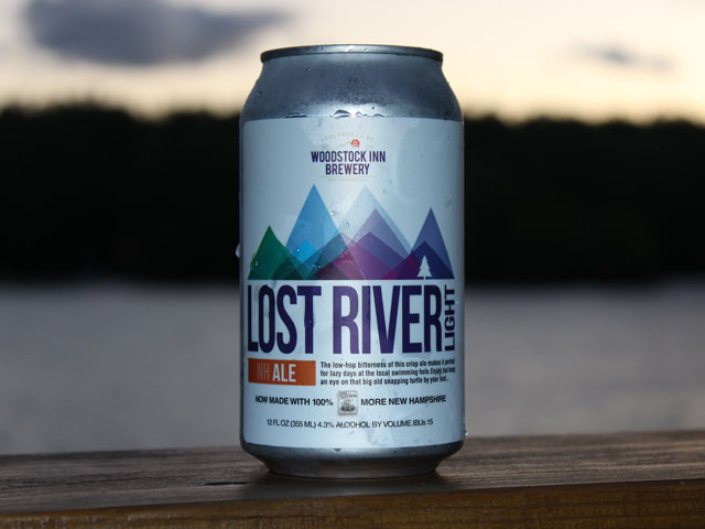 Lost River Light, a light lager brewed by Woodstock Inn Brewery