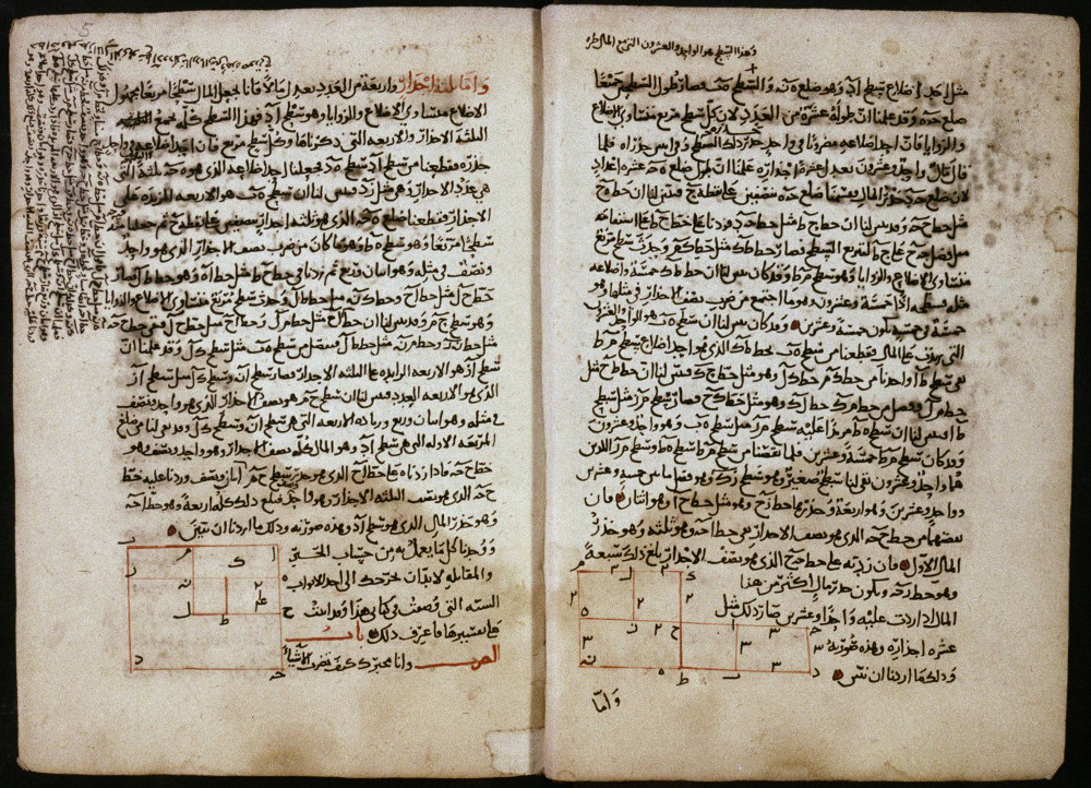 3.4: Text pages from Algebra manuscript with geometrical solutions to two quadratic equations. Shelfmark: MS. Huntington 214 fol. 004v-005r