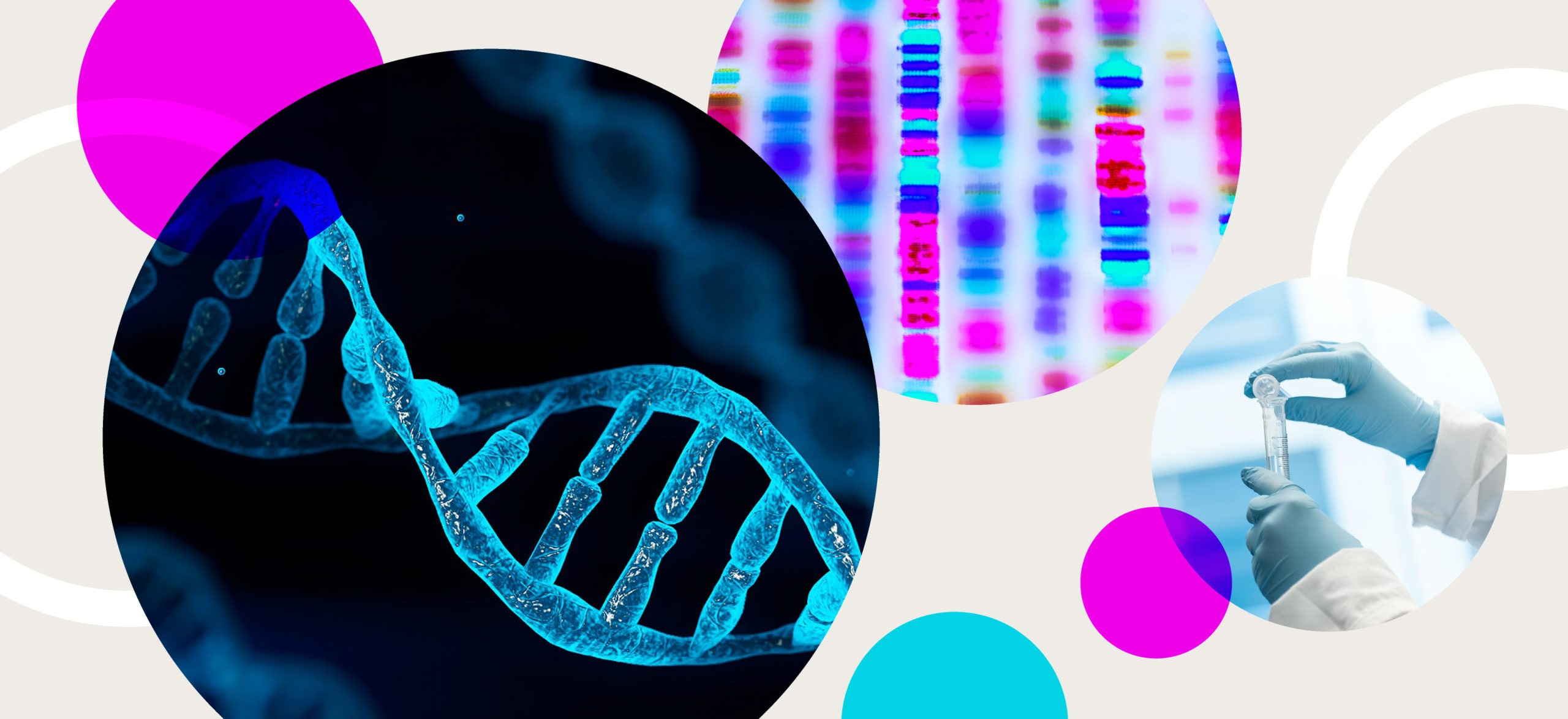 A collage showing a scientific illustration of DNA, the results of genome sequencing and a person working in a genomics lab