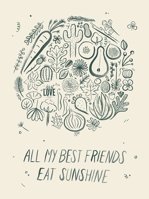 A poster with a collage of plants done in brush and ink. Below it: All my best friends eat sunshine