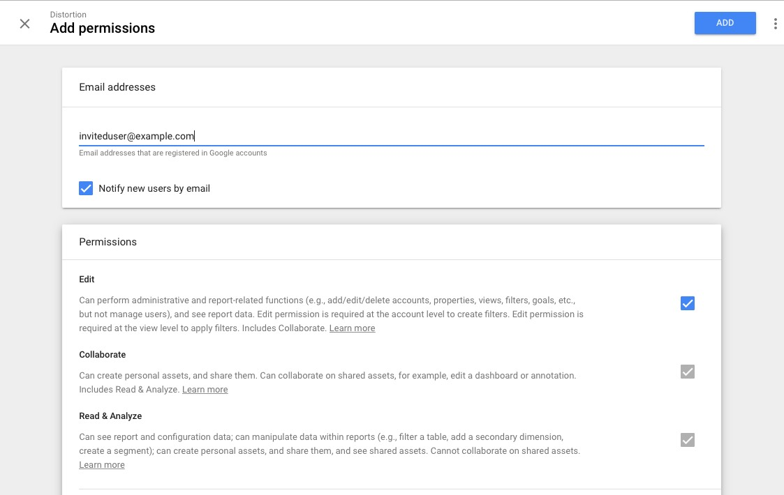 Google Analytics User Permissions