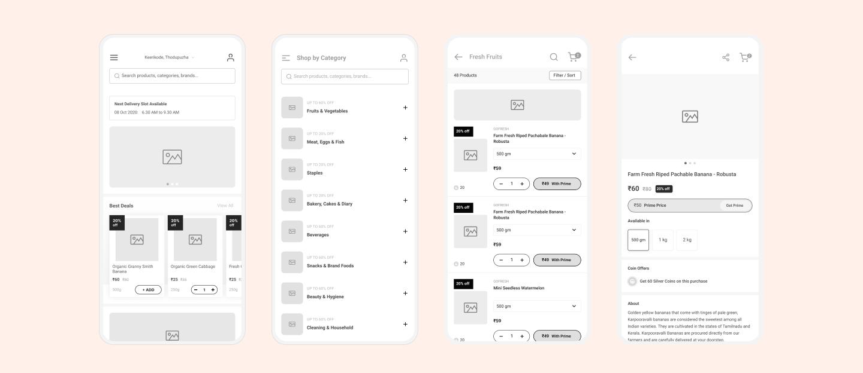 Online grocery app design