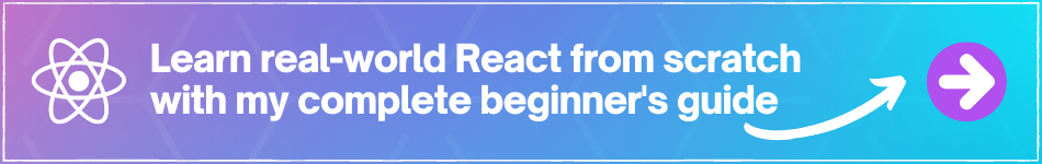banner highlighting the beginner guide to React