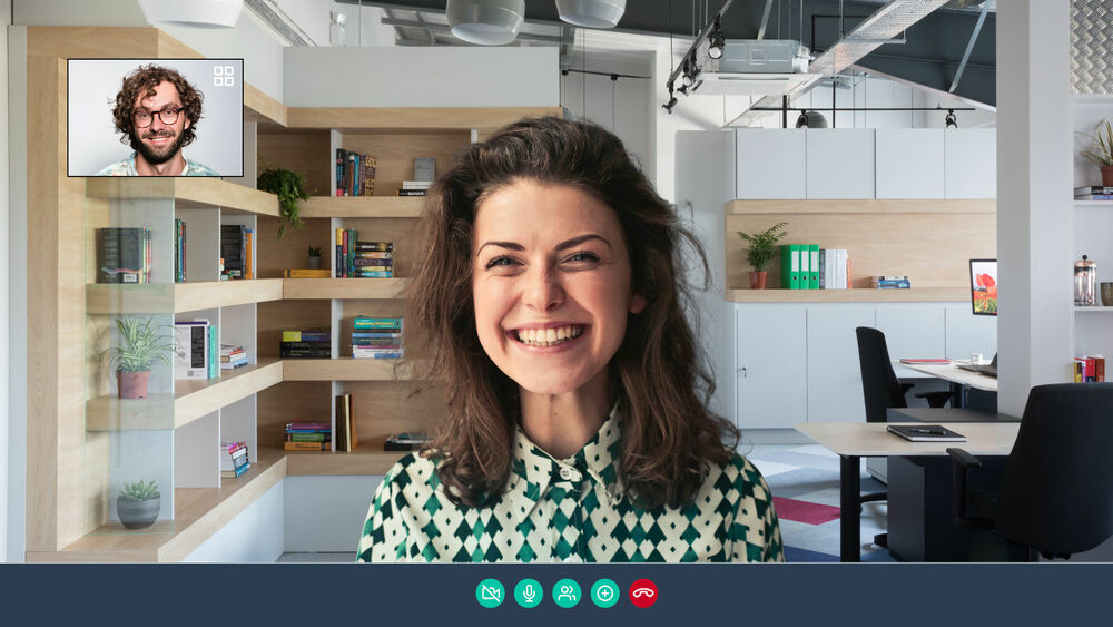 Bright, stylish workspace background for Skype