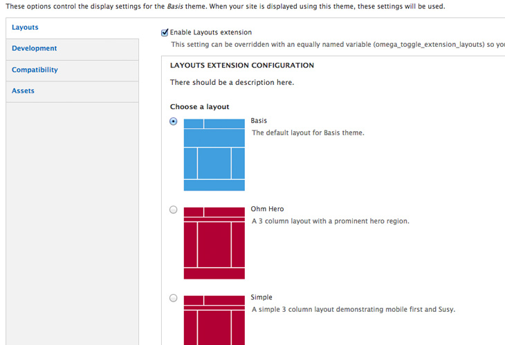 Omega 4 layout selecter