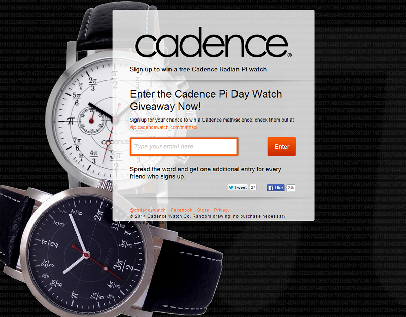 Cadence Watch Pi Day Giveaway