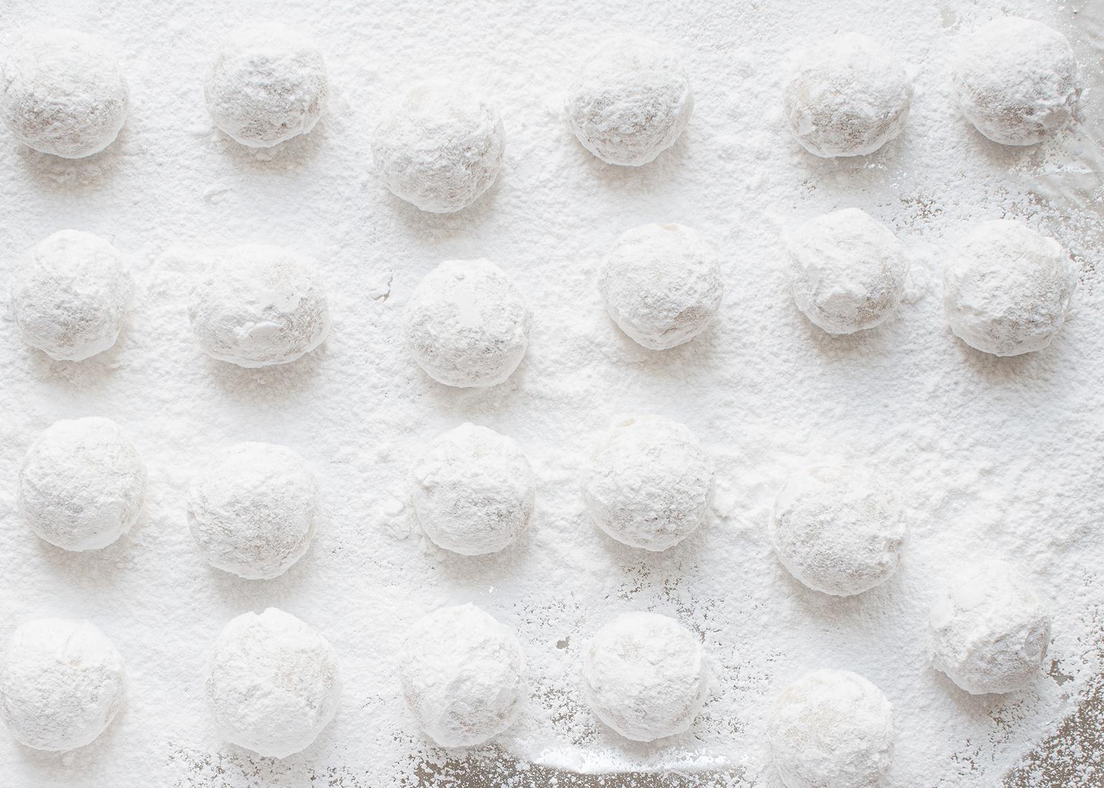 russian teacake cookies on a baking sheet