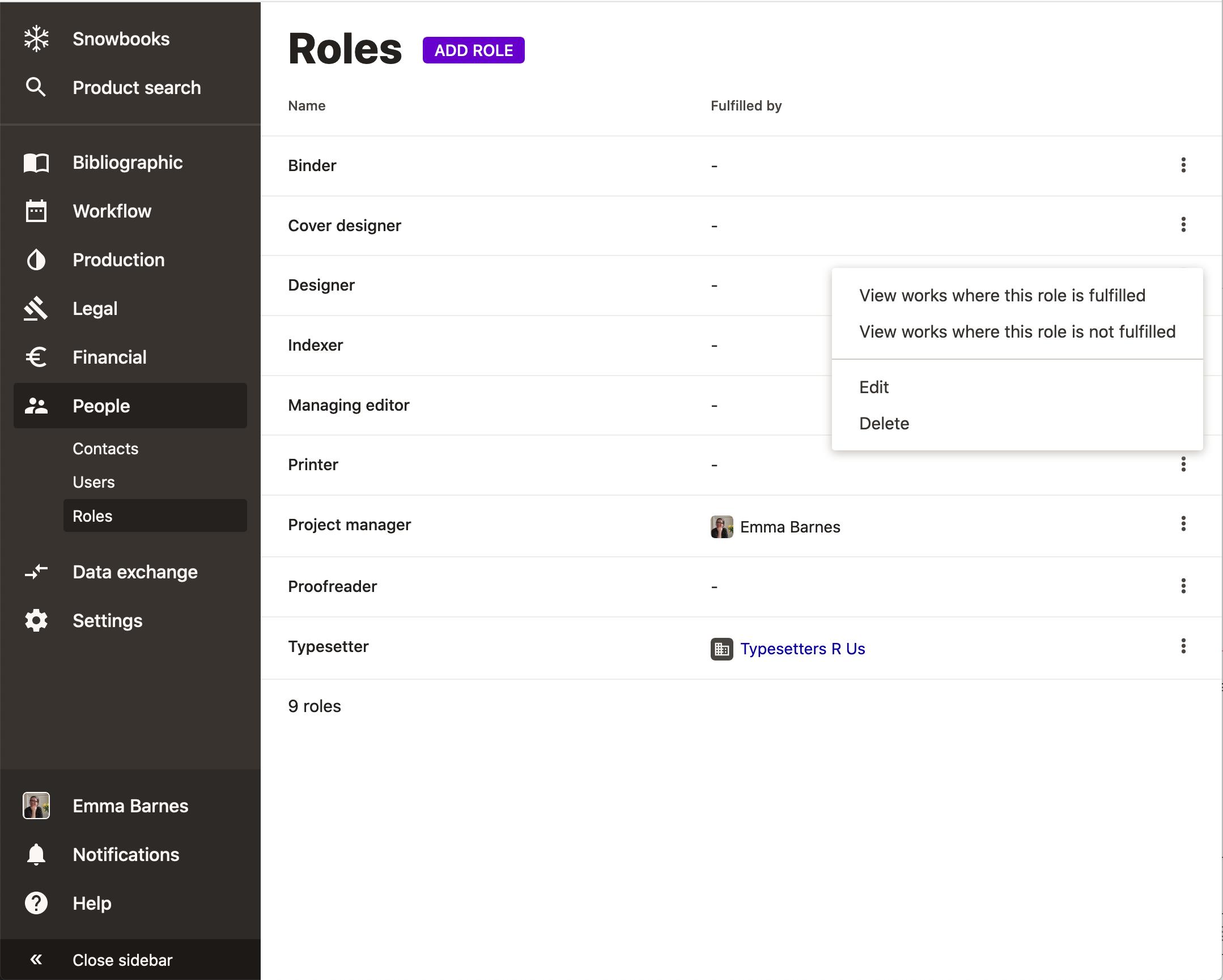 Screenshot of roles