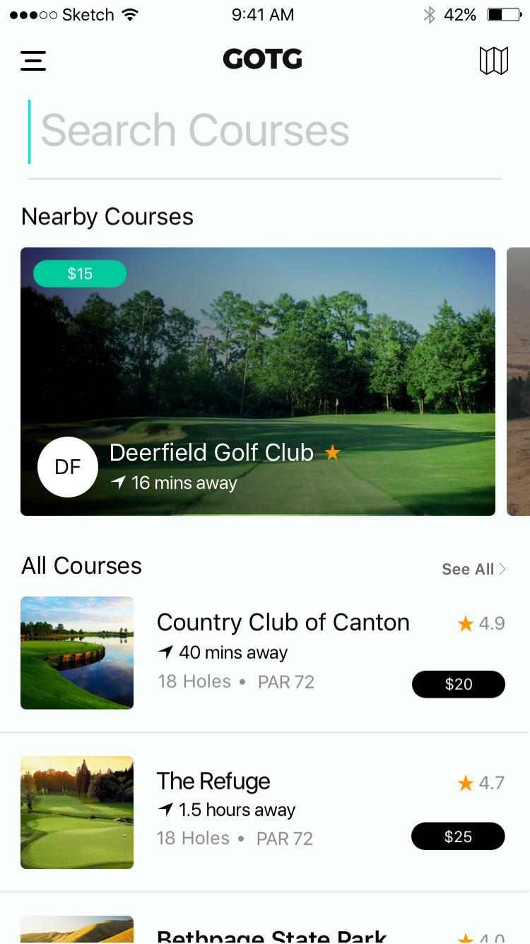 Discover Golf Courses in Golf on the Go
