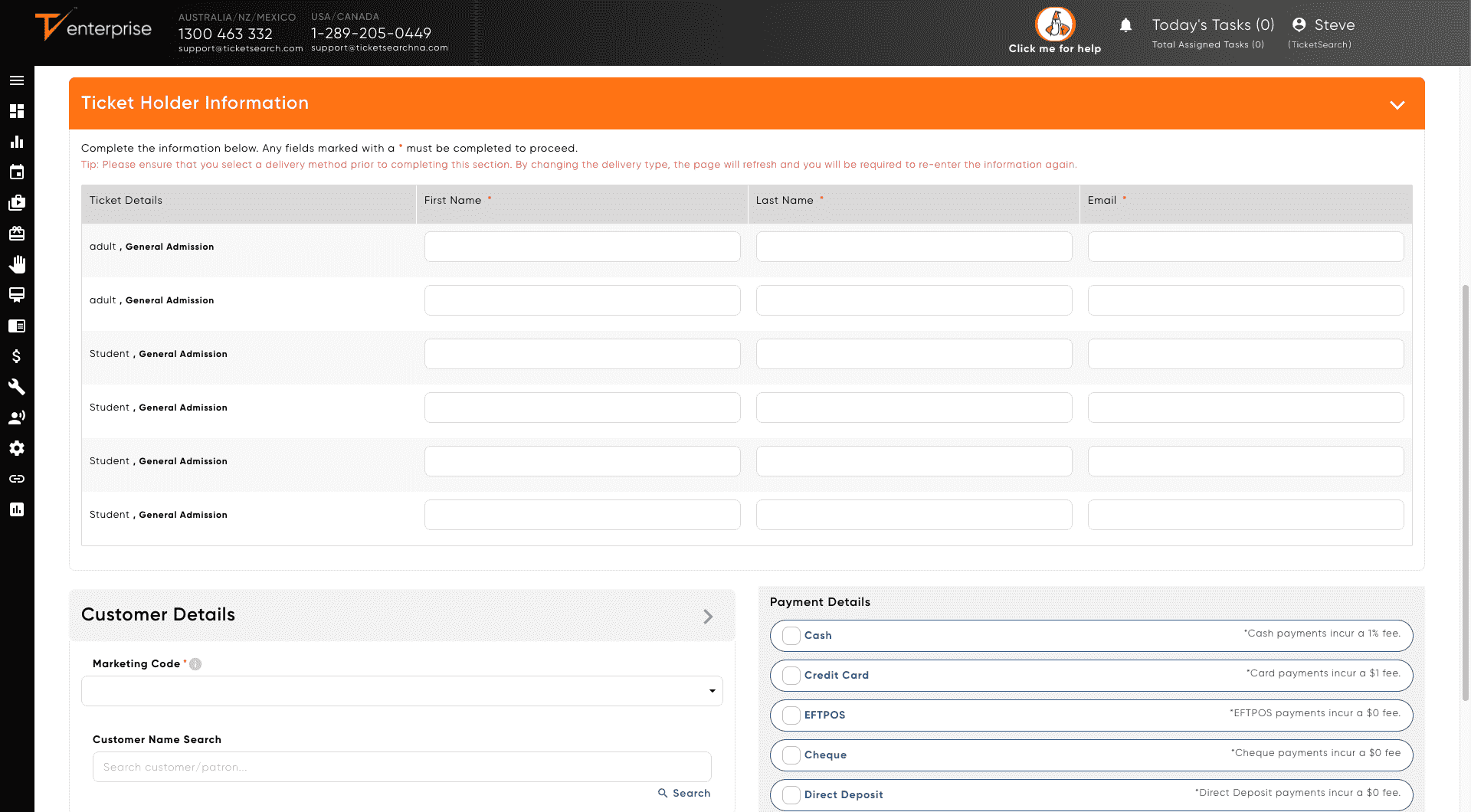 Screenshot of Ticketseach admin
