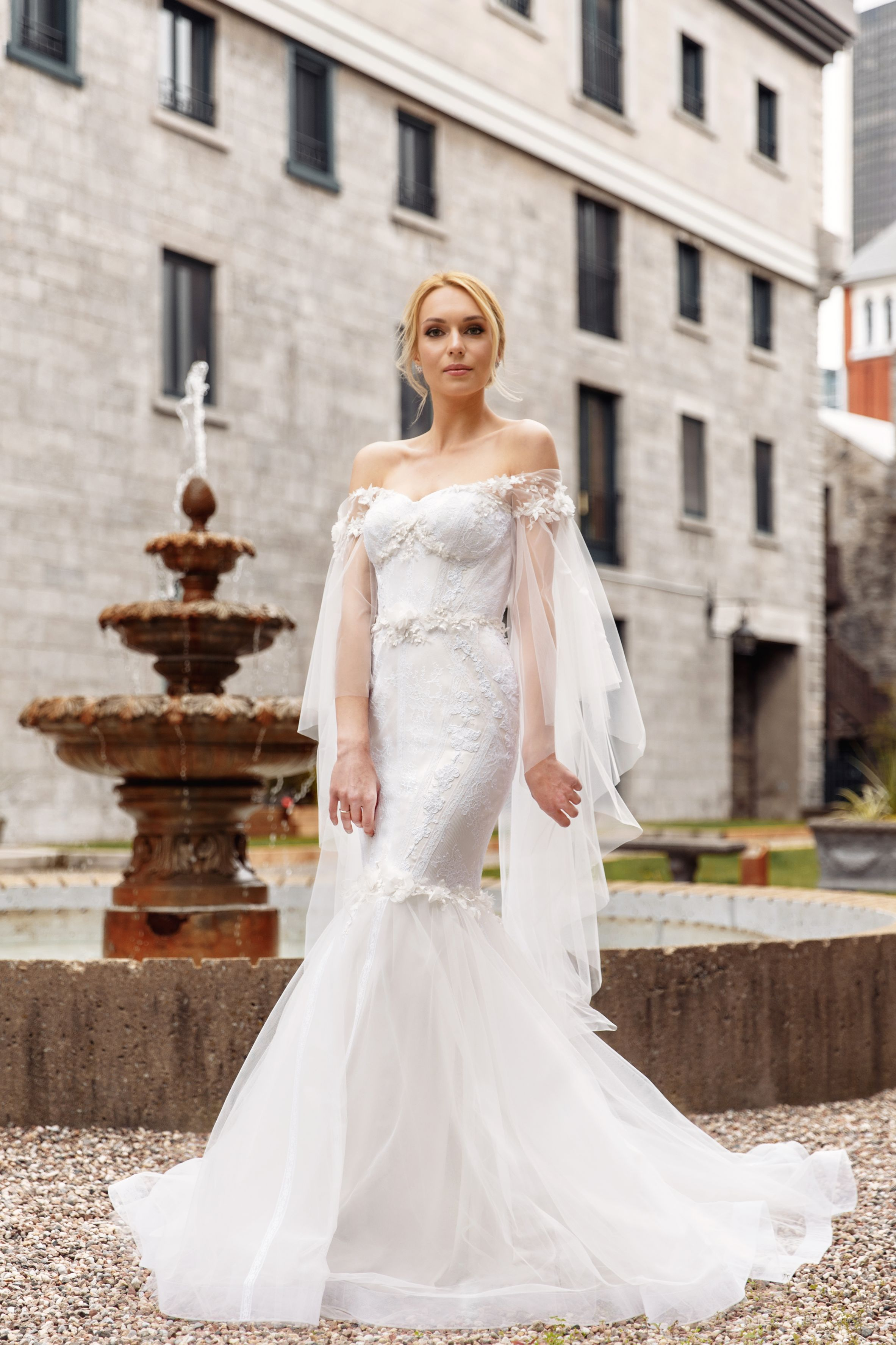long sleeve mermaid gown lilia haute couture designer dresses montreal