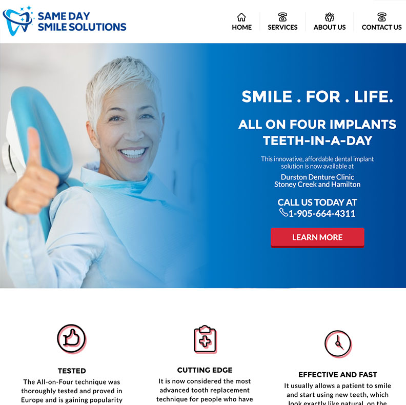 Home Page of Samedaysmilesolutions Website