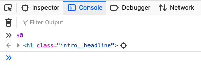 A screenshot to show that typing $0 shows the active element in the console