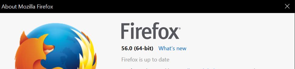 Firefox 64-bit version screen