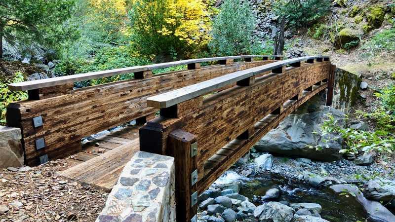 A footbridge over Indian Creek