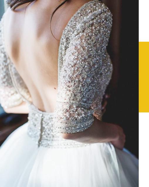 Retouche du dos nu sur la robe de mariée