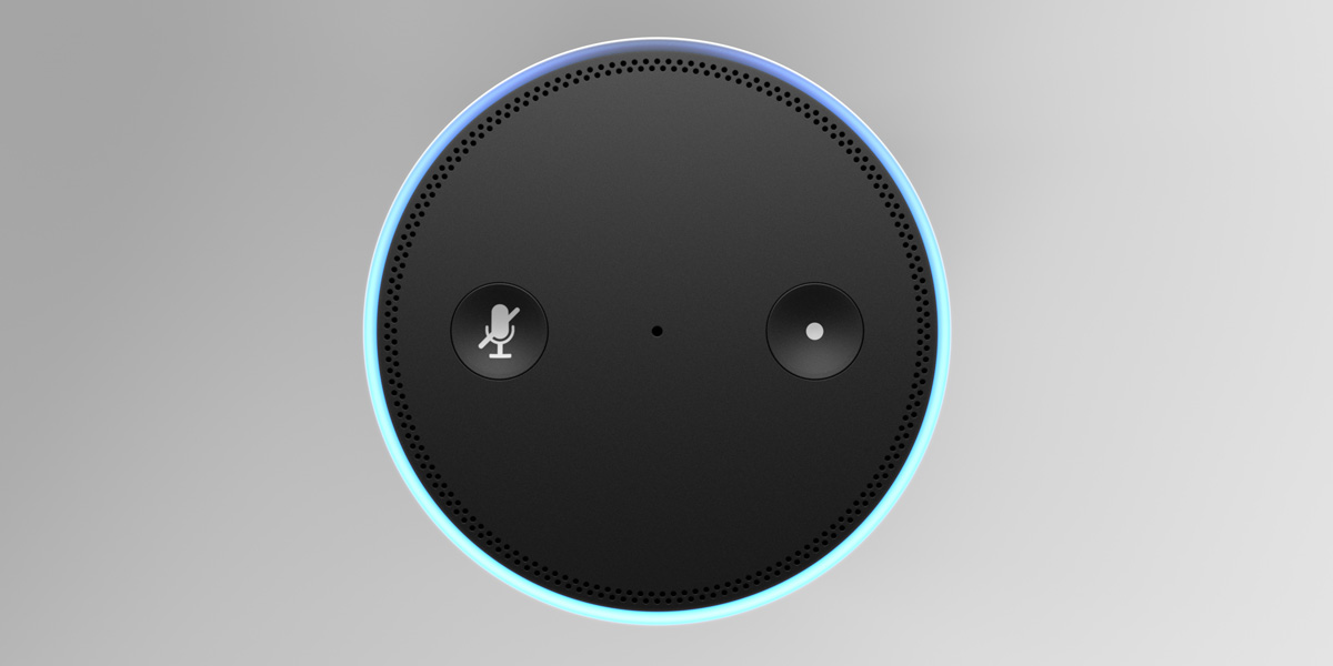 An Amazon Echo Dot smart speaker