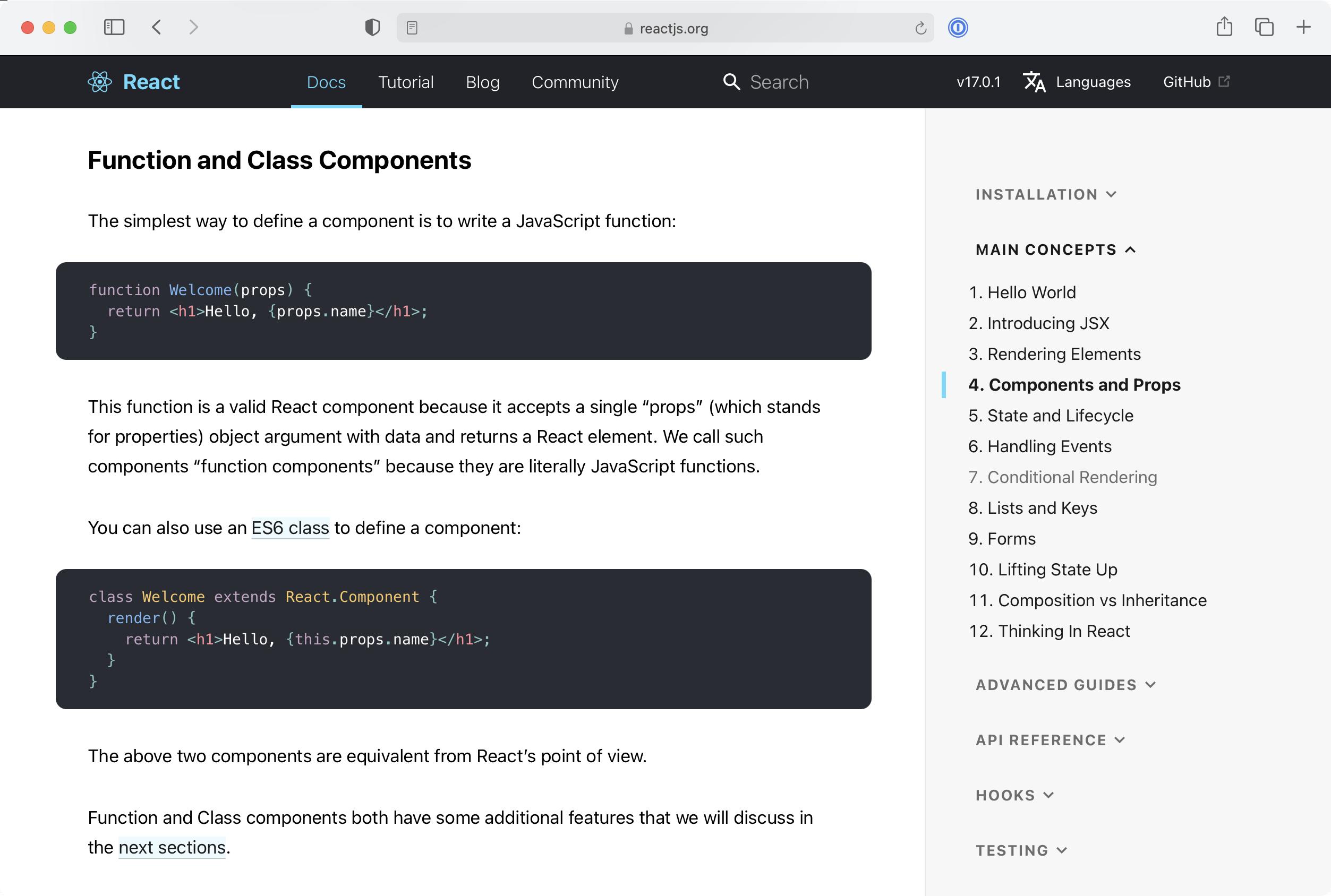 React.js component