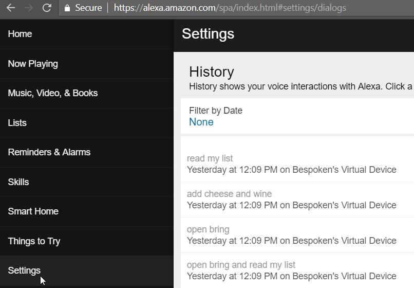 Showing Alexa's utterances history