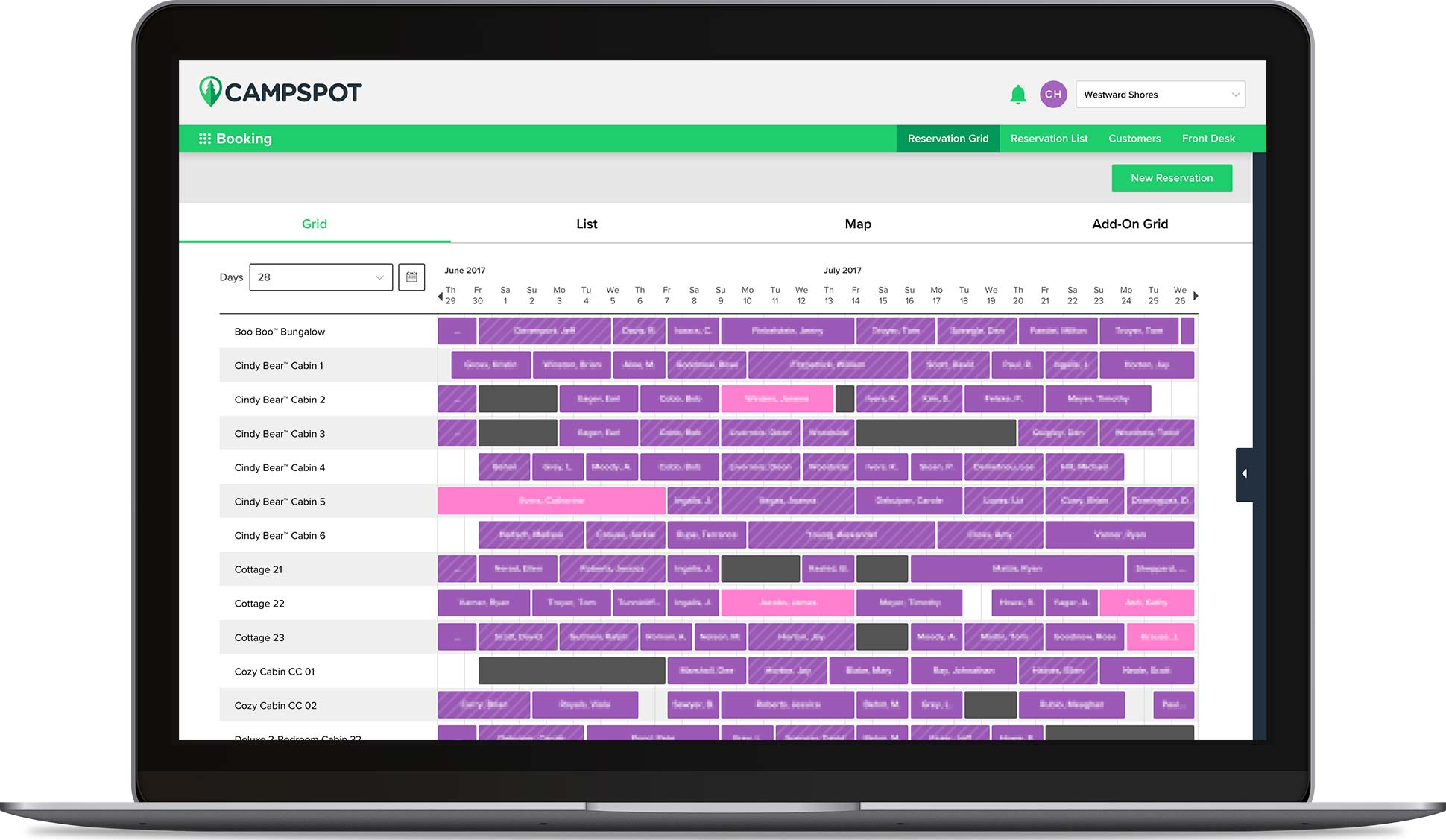 Campspot reservation software grid view.