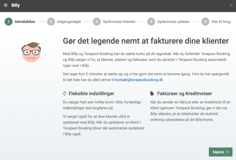 Billy Regnskabsprogram og Terapeut Booking integration