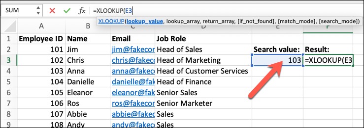 An Excel spreadsheet containing four columns of data: Employee Name, ID, Email Address, and Job Role. An empty cell has been highlighted and the XLOOKUP function typed into the formula bar. The lookup criteria has been set, and a matching data point identified.