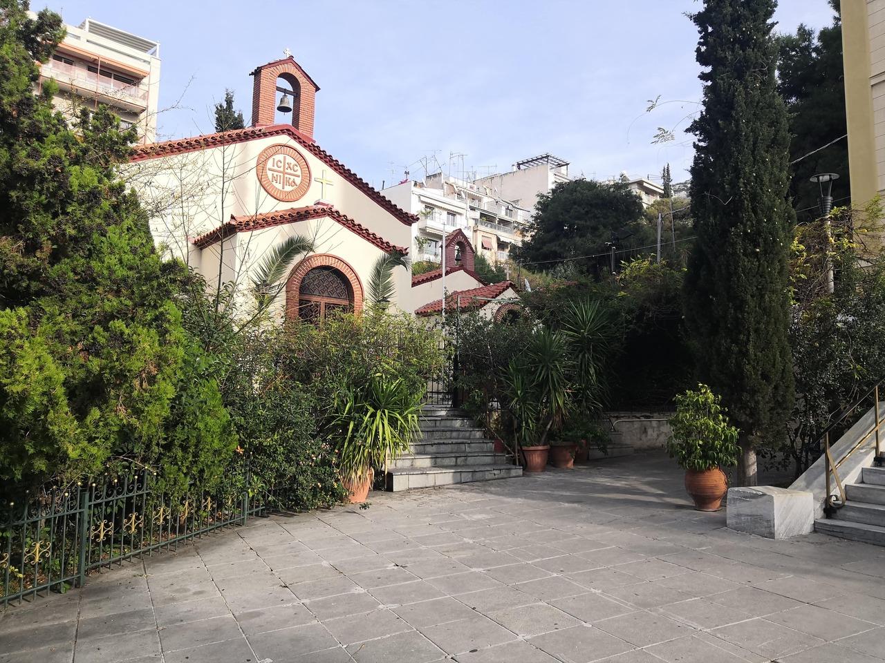 Urban churchyard adjacent to a park