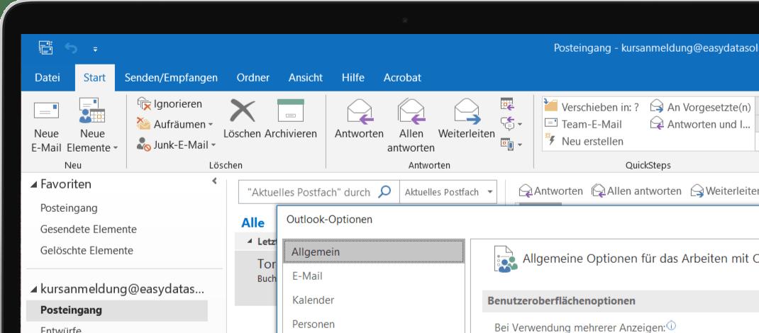 Bildschirm mit Übung aus unserem Outlook Kurs